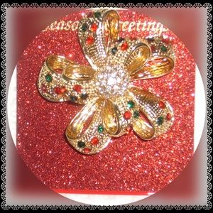 Christmas Bow Brooch /Pin Embellished